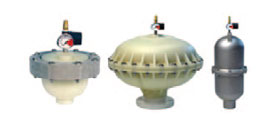 Pulsation dampeners allowing a 99% reduction of vibration and pulsation caused by the use of diaphragm metering pumps, pneumatic pumps or peristaltic pumps